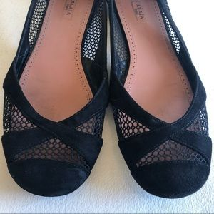 Alaia Paris nubuck mesh Italy ballet flats shoes